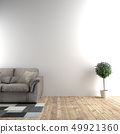 White room next to sofa and plants in empty wall b 49921360