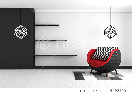 Living Room interior with blue velvet armchair 49921552