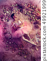 Young woman in pink ballet tutu surrounded by flowers 49921999