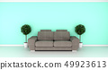 Modern interior room with sofa and green plants  49923613