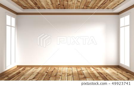 wooden floor Japanese style - empty room interior 49923741