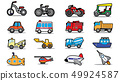 Cute vehicle types in sticker style on square 49924587