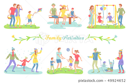 Family Activities Happy Parents and Children Set 49924652