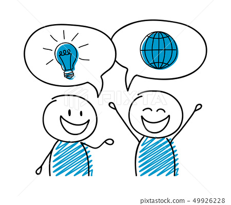 Talking cartoon people with business icons. Vector 49926228