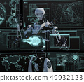 Humanoid robot perming3DCG illustration material to see the monitor 49932123