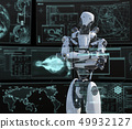 Humanoid robot perming3DCG illustration material to see the monitor 49932127
