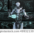 Humanoid robot perming3DCG illustration material to see the monitor 49932130
