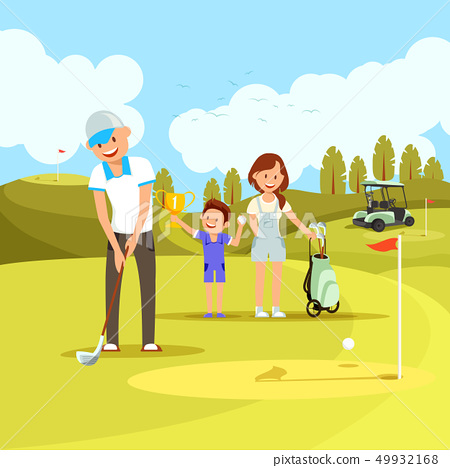 Young Sportive Family Playing Golf on Green Course 49932168