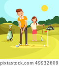 Young Man and Woman Playing Golf on Green Field. 49932609