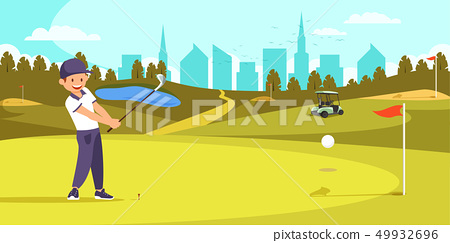 Male Golfer Lining Up Tee Shot on Golf Course. 49932696