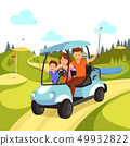 Happy Family with Golf Clubs Riding Blue Golf Cart 49932822
