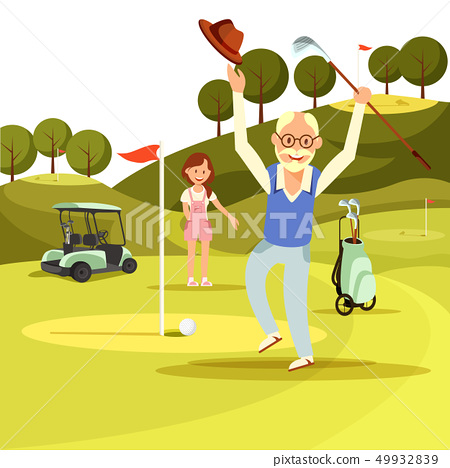 Happy Joyful Senior Man Jump on Green Golf Field. 49932839