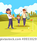Family Golf Lesson on Green Courde at Summer Time. 49933029