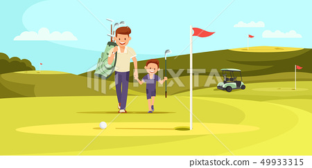 Man in Sport Suit with Golf Clubs Walking with Son 49933315