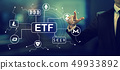 Cryptocurrency ETF theme with a businessman 49933892