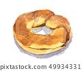百吉卷水彩手拉的例證食物 49934331