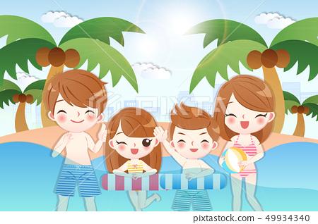 cute cartoon happy family 49934340