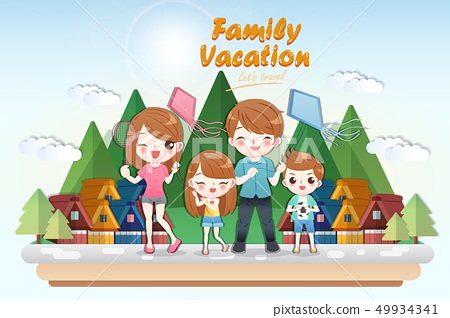 cute cartoon family travel 49934341
