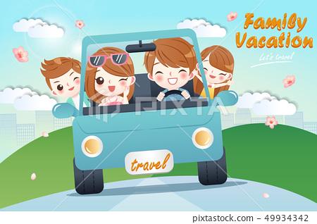 cute cartoon happy family 49934342