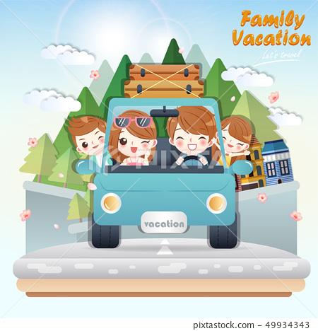 cute cartoon happy family 49934343