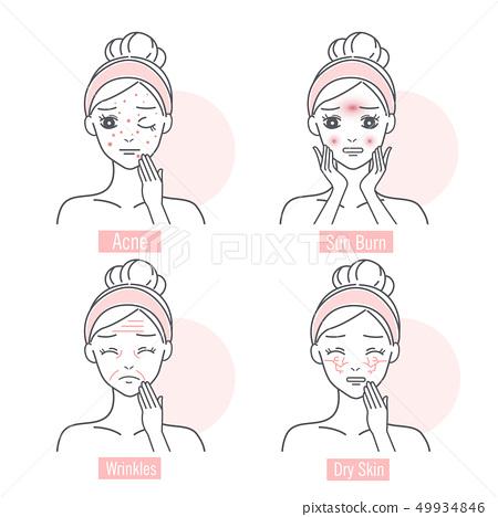 woman has facial skin problem 49934846