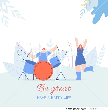 Be Great People Motivating Text Flat Music Card 49935059