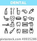 Dental Services, Stomatology Linear Vector Icons Set 49935286