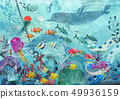 blue underwater background with fish 49936159