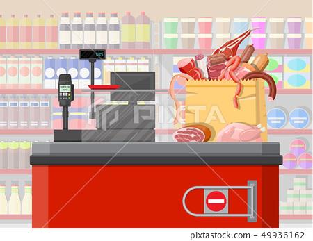 Supermarket store, retail groceries 49936162