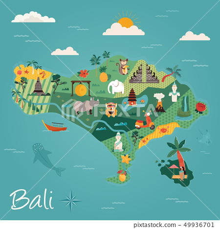 Bali travel banner with famous landmarks. 49936701