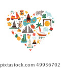 Cartoon illustration with Bali landmarks, symbols 49936702