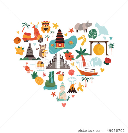 Cartoon illustration with Bali landmarks, symbols 49936702