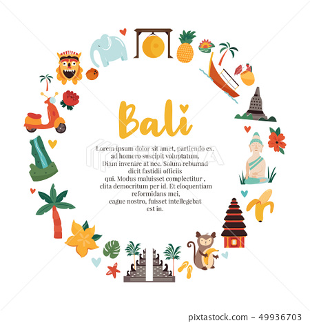 Cartoon illustration with Bali landmarks, symbols 49936703