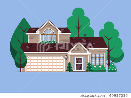 Suburban American single family house. Two store town home with garden trees 49937056