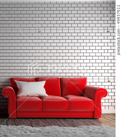 Red sofa and pillow ,carpet , wooden floor 49937611