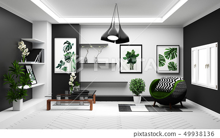 Modern Tropical Living Room Interior With Sofa Stock Illustration 49938136 Pixta