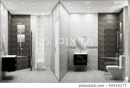Toilet loft style tiles two tone interior design 49938277