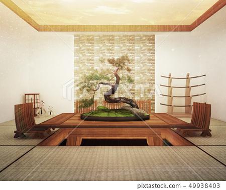 Japanese interior design,modern living room 49938403