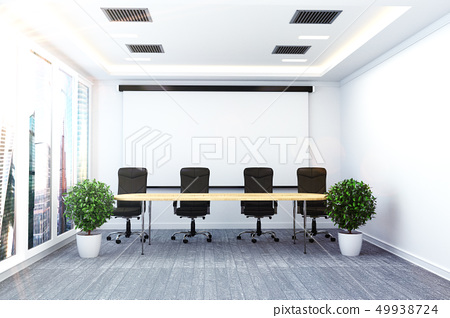 Office interior with table and chairs palnts 49938724