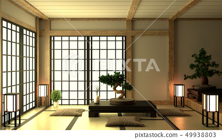 Empty Room japanese with tatami mat design 49938803