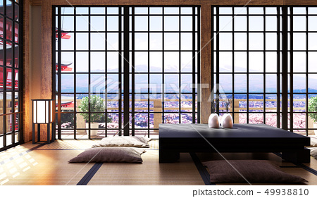 Japanese living room interior in living room 49938810