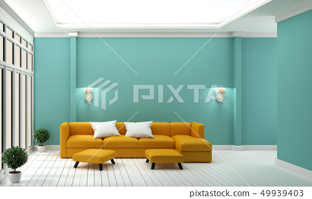 Luxury room - Yellow sofa on mint wall 49939403