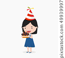 Kid Girl holding birthday cake 49939997