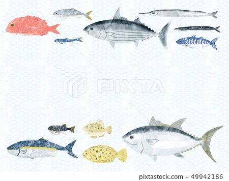 鱼信纸蓝色海波浪白色 49942186