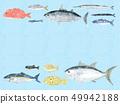 鱼信纸蓝色海波浪蓝色 49942188
