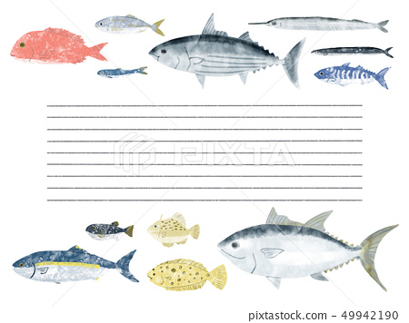 Fish letter paper border 49942190