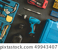 top view of Construction tools concept. 49943407