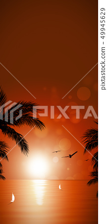 tropical ocean sunset banner 49945629