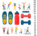 Sports Equipment and People Doing Exercises Set 49946888