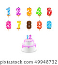 Birthday candles . Birthday cake with numeral cand 49948732